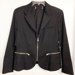 LOUIS VUITTON Black Zip Front Cotton Blend Jacket